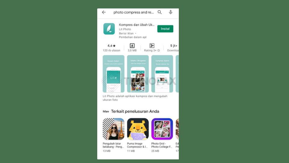 Gambar 11. Aplikasi Photo compress & Resize di google play store