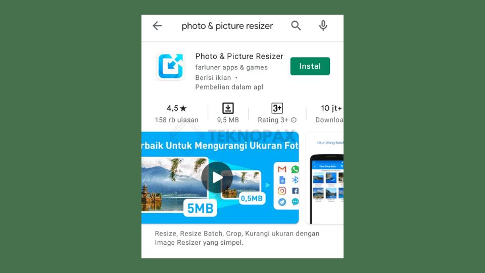 Gambar 18. Aplikasi photo & picture resizer di google play store