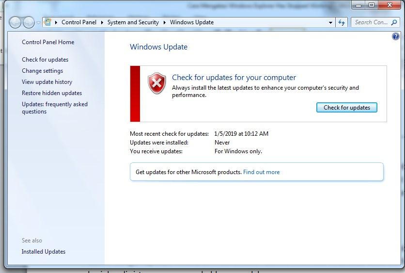 Cara Mengatasi Windows Explorer Has Stopped Working dengan perbarui sistem operasi