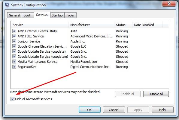 Cara Mengatasi Windows Explorer Has Stopped Working dengan nonaktifkan layanan pihak ketiga